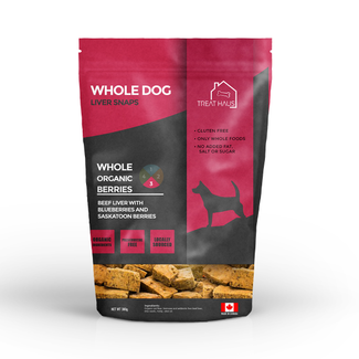 Treat Haus 380g Whole Dog Liver Snaps Beef Liver  with Berries