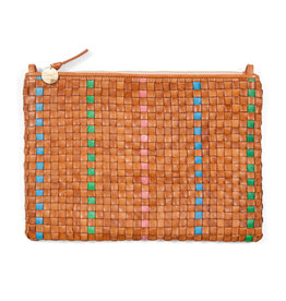 clare v flat woven clutch natural w/grn, pink, ceruean
