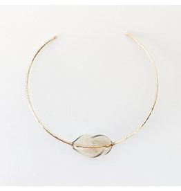 crescioni pia necklace brass/smoked glass
