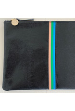 clare v flat lizard clutch black w/grn, pink, cerulean