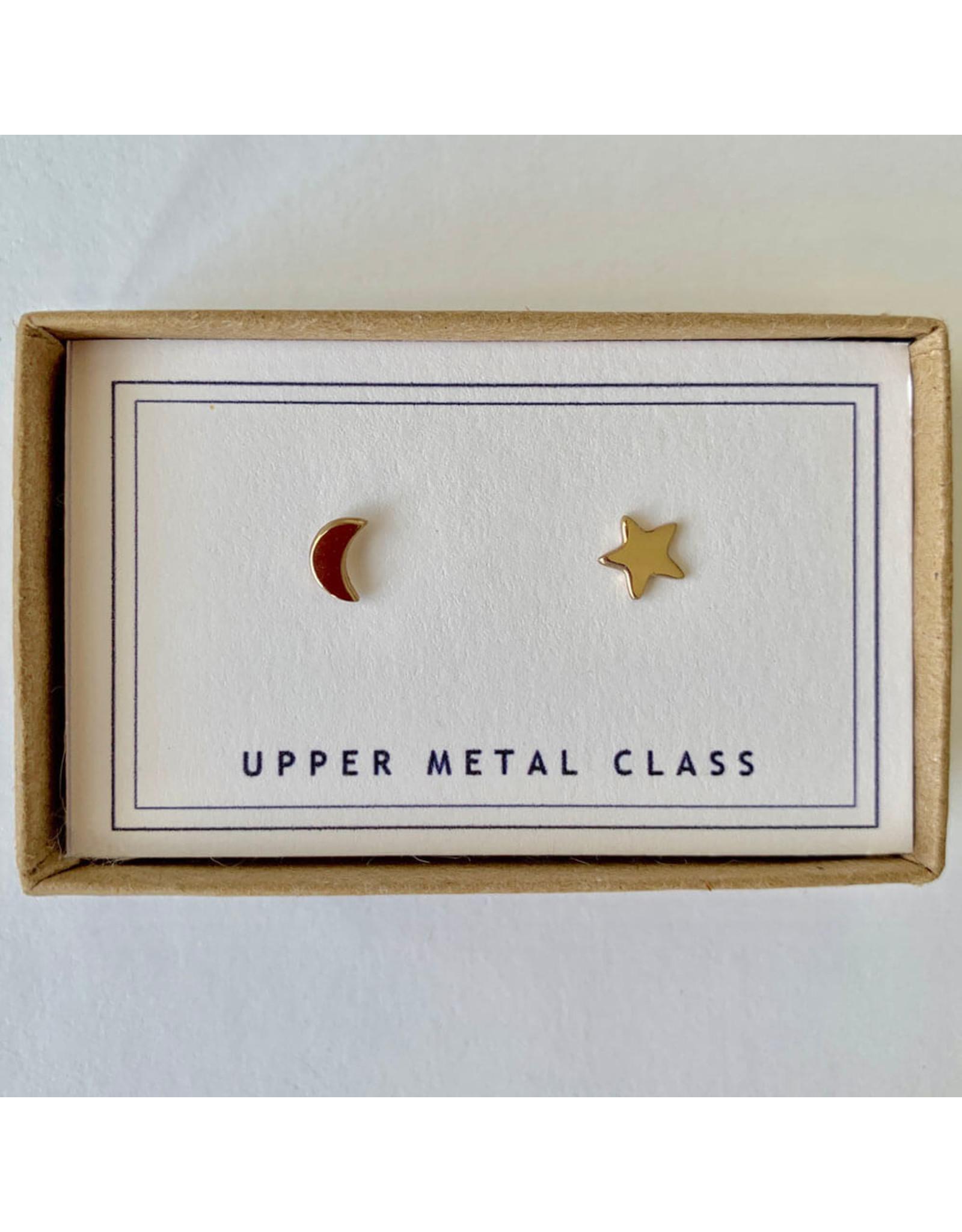 upper metal class moon star studs bronze