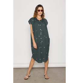 two ny button up teal khadi dress O/S