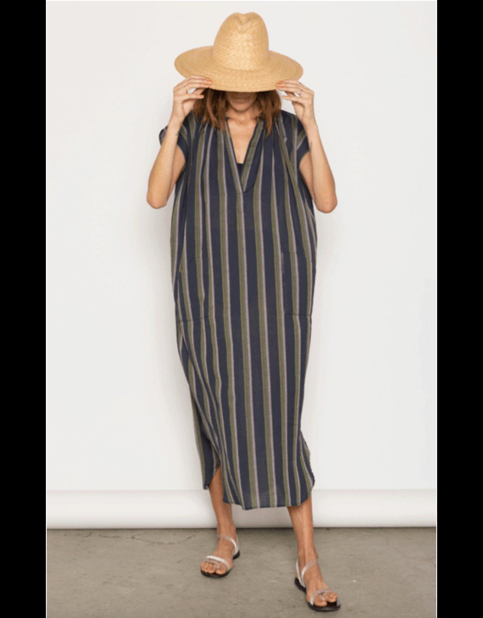 two ny eggplant and olive stripe pocket dress  O/S