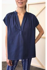 two ny blue khadi metallic shirt O/S