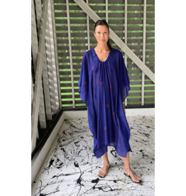 two ny ultra blue sketch drawstring caftan  O/S