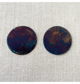 annie costello brown disc earrings iridescent blue finish
