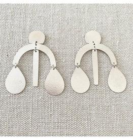 annie costello brown mini arc drop earrings sterling silver