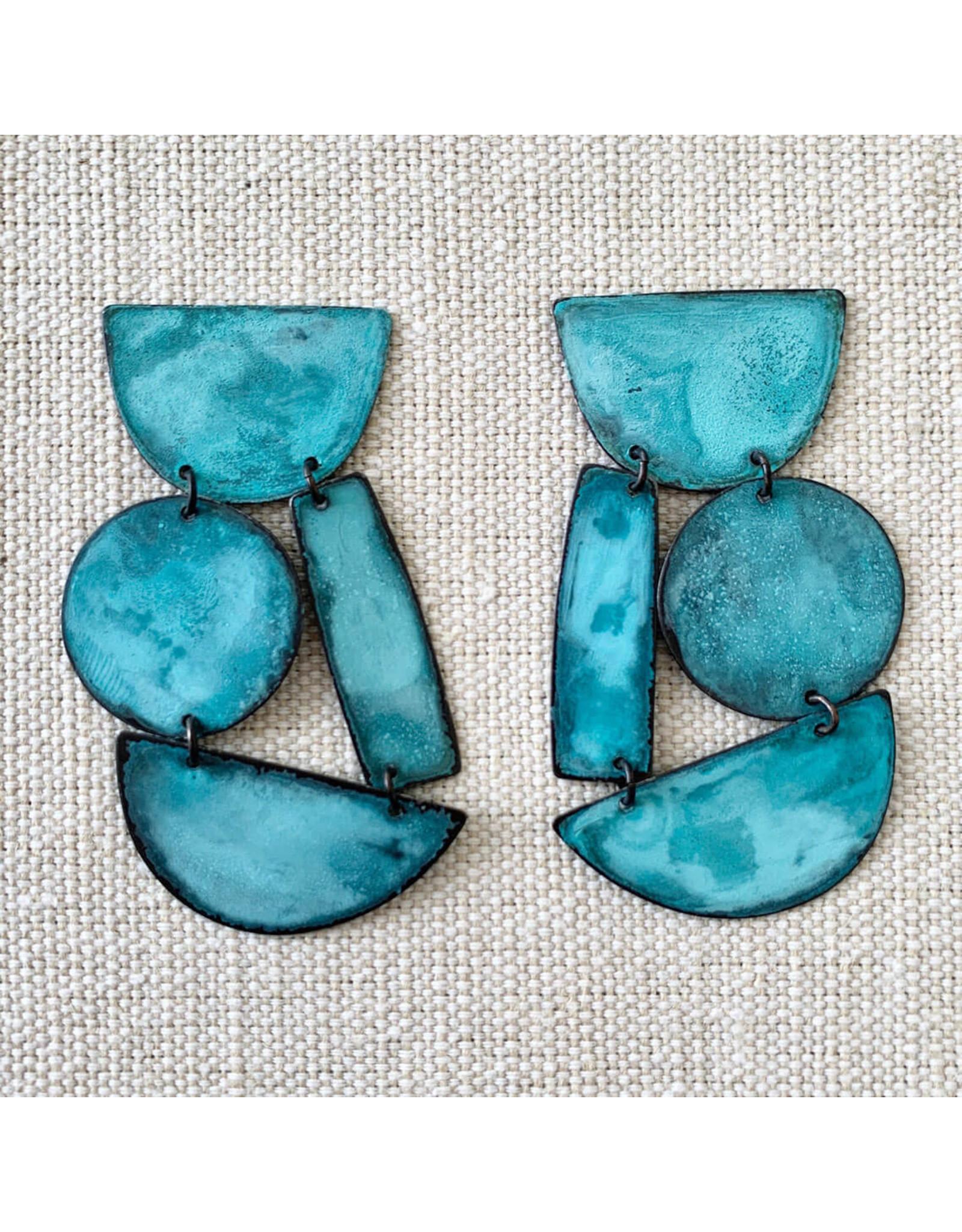 annie costello brown masha earrings cyan patina brass