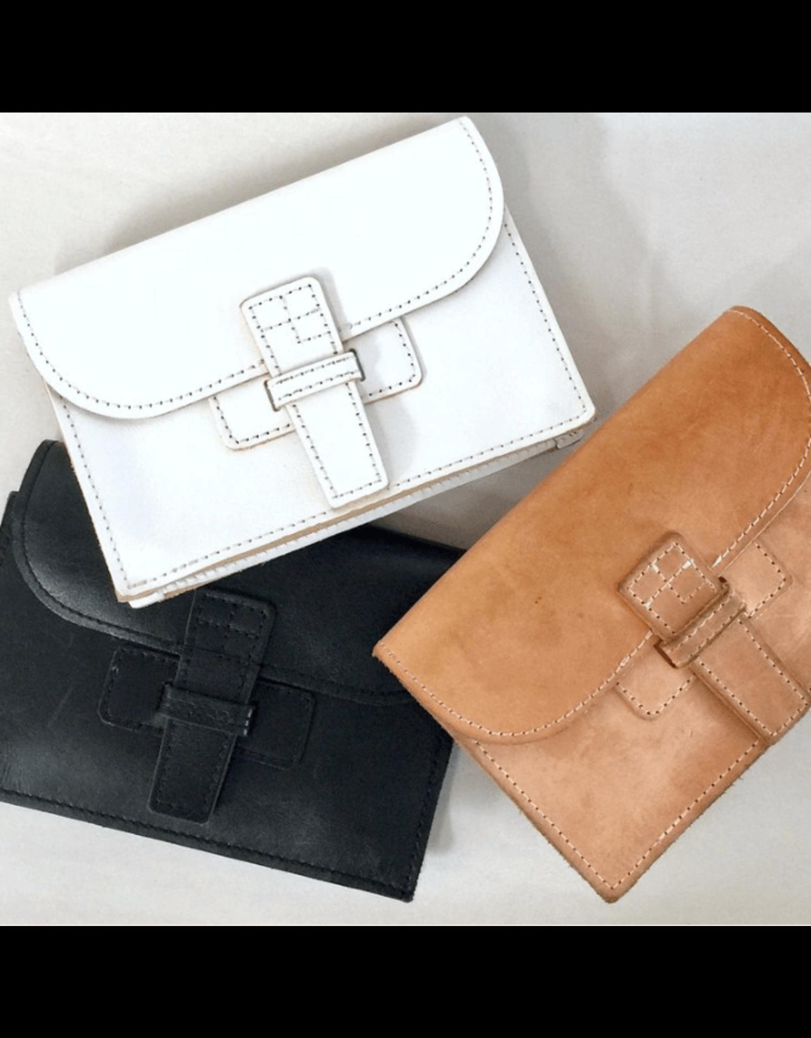 agnes baddoo clutch and belt sac white