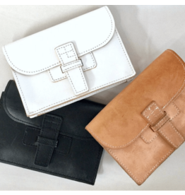 agnes baddoo clutch and belt sac white