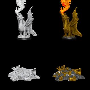 WizKids D&D Unpainted Minis: Gold Dragon Wyrmling and Half Eaten Treasure Pile