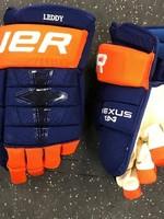 "Bauer Bauer Nexus 1N Nick Leddy New York Islanders Pro Stock Hockey Gloves 14"""