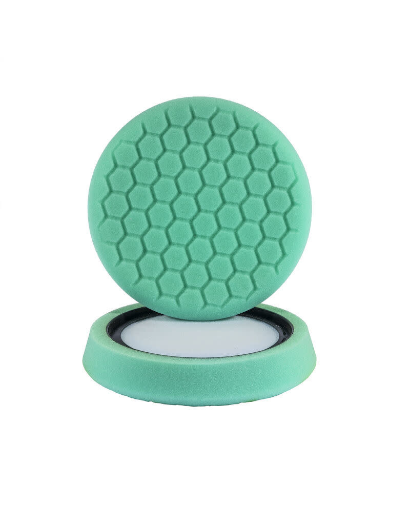 "Hex-Logic 7.5"" ""SELF CENTER"" HEX-LOGIC Pad GREEN LIGHT CUT-HEAVY POLISH MINOR SCRATCH & SWIRL REMOVER Pad- (7.5""inch)"