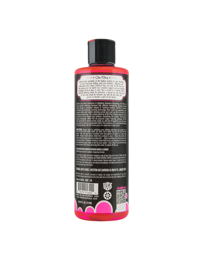 Chemical Guys Mr. Pink Super Suds Shampoo Superior Surface Cleanser (16 oz)