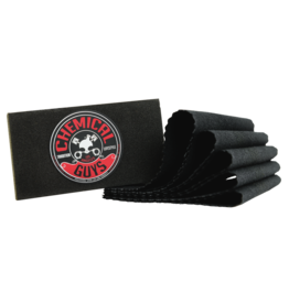 Chemical Guys Small Black Carbon Flex Applicator + 5 Gray Suede Towels