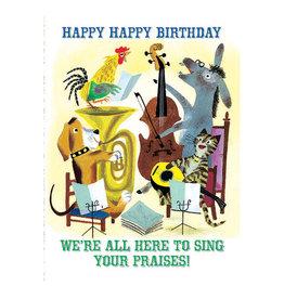 Laughing Elephant Birthday Music Quartet Notecard  A7 Birthday