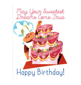 Laughing Elephant Chef with a Big Cake Notecard A7 Birthday