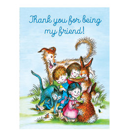 Laughing Elephant Children & Animals Hugging Notecard A7 Friendship
