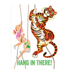 Laughing Elephant Children & Tiger Climbing Ropes Notecard A7 Encouragement
