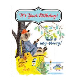 Laughing Elephant Fisherman Cat Notecard A7 Birthday