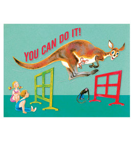 Laughing Elephant Kangaroo Jumping Hurdles Notecard A7 Encouragement