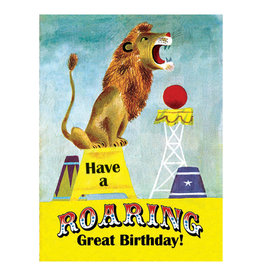 Laughing Elephant Lion Roaring Notecard A7 Birthday