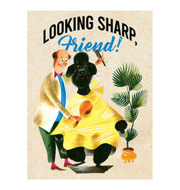 Laughing Elephant Poodle & Barber Notecard A7 Thinking of You