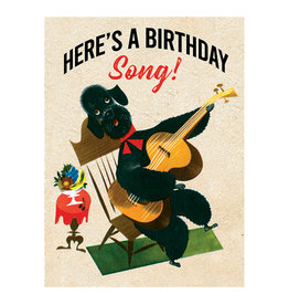 Laughing Elephant Poodle with a Guitar Notecard A7 Birthday