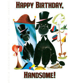 Laughing Elephant Poodle with a Top Hat Notecard A7 Birthday