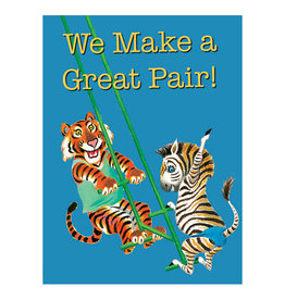 Laughing Elephant Tiger & Zebra on a Swing Notecard A7 Anniversary