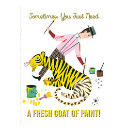 Laughing Elephant Tiger Being Painted Yellow Notecard A7 Thinking of You