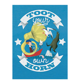 Laughing Elephant Toot Your Own Horn Notecard A7 Encouragement