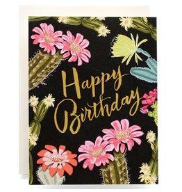 Antiquaria Cactus Blooms Birthday A2 Greeting Card