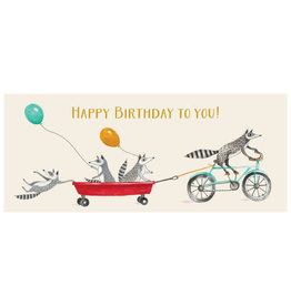 Hester & Cook Happy Birthday Raccoons No.10 Greeting Card