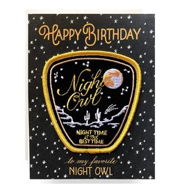 Antiquaria Patch Card: Night Owl Birthday A2 Greeting Card