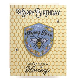 Antiquaria Patch Card: Honeybee Birthday A2 Greeting Card