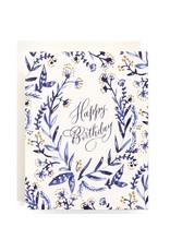 Antiquaria Cobalt & Canary Birthday A2 Notecard