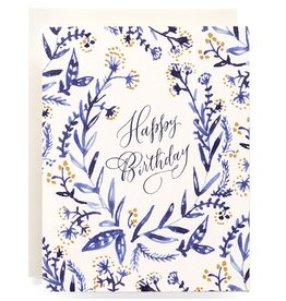 Antiquaria Cobalt & Canary Birthday A2 Greeting Card