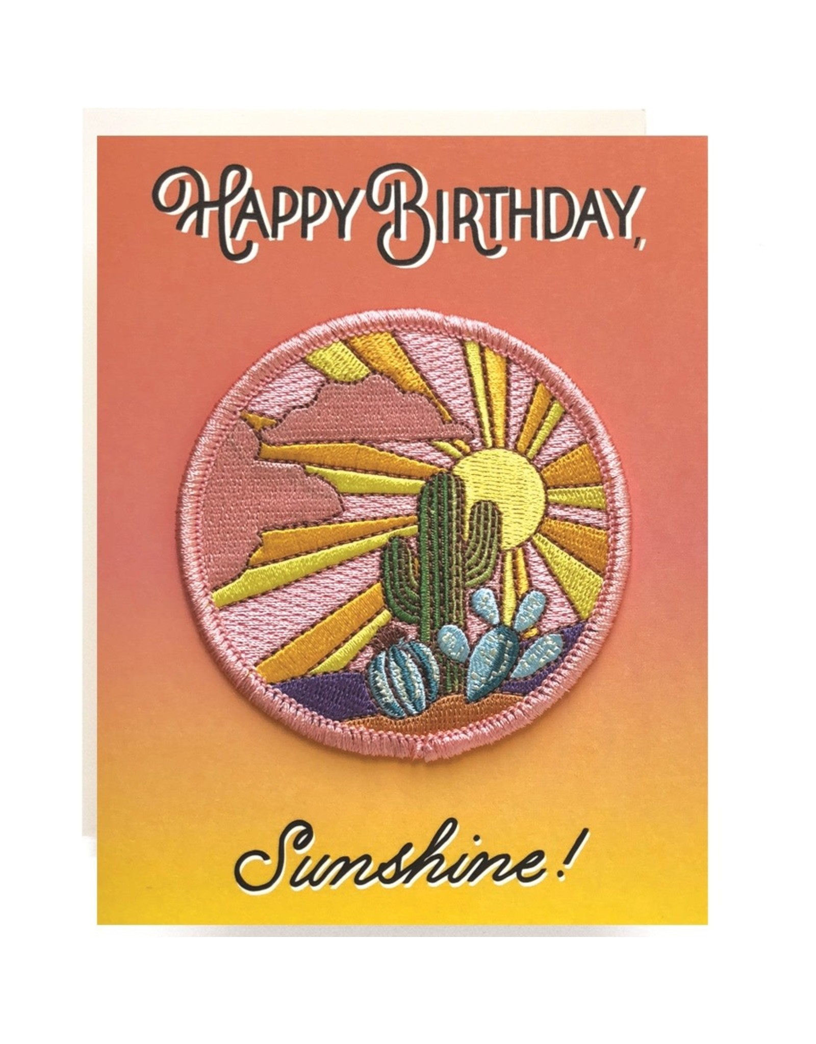 Antiquaria Cactus Sunset Birthday Patch Notecard