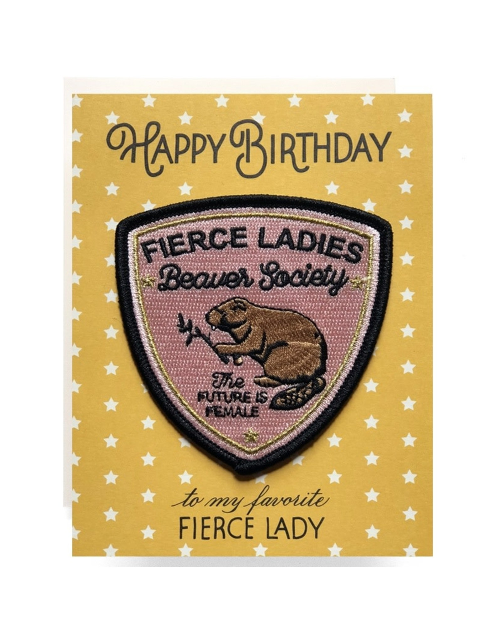 Antiquaria Fierce Lady Birthday Patch Notecard
