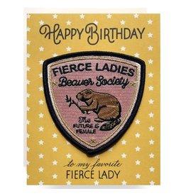 Antiquaria Fierce Lady Birthday Patch Notecard