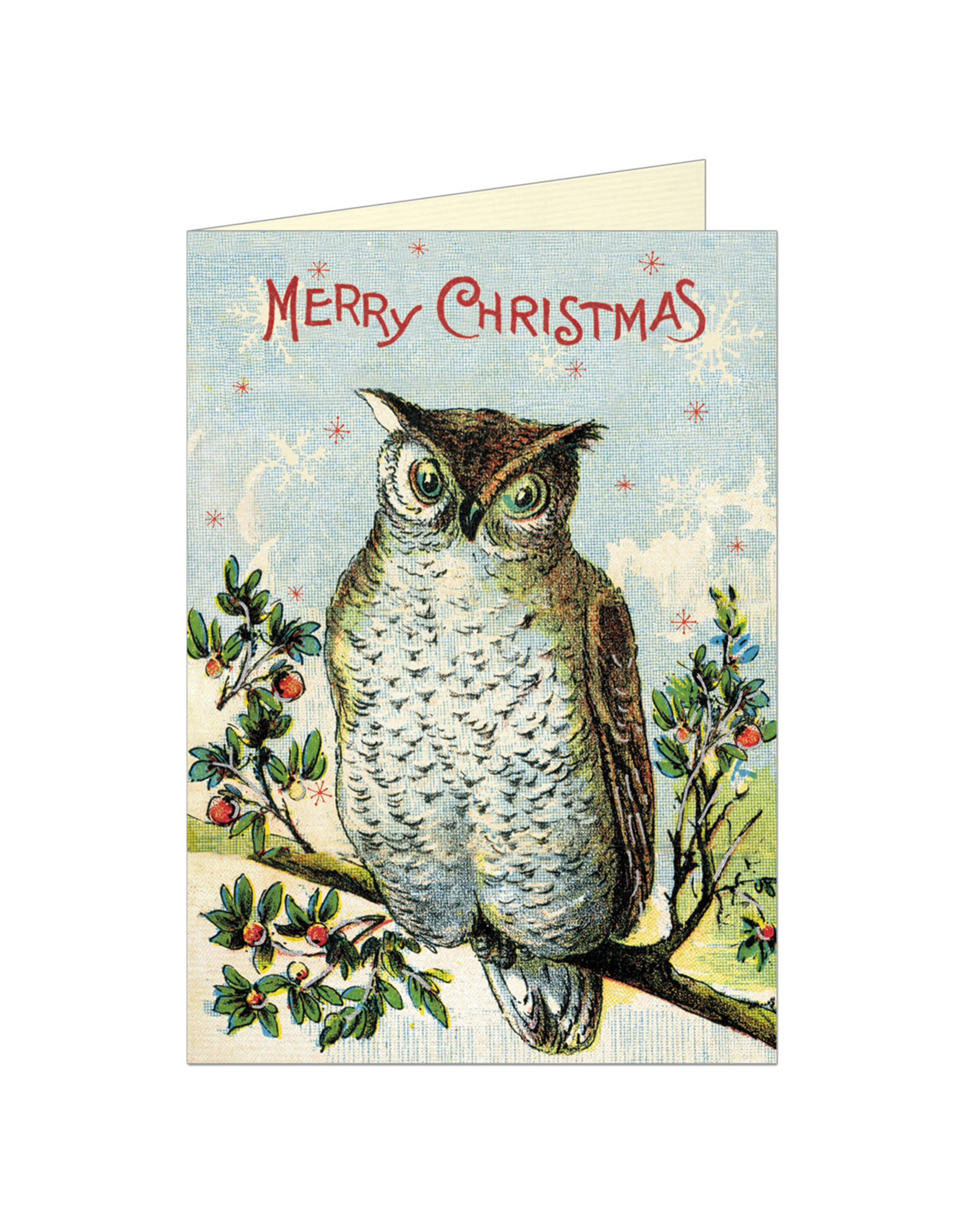 Cavallini Papers & Co. Merry Christmas Owl Greeting Notecard