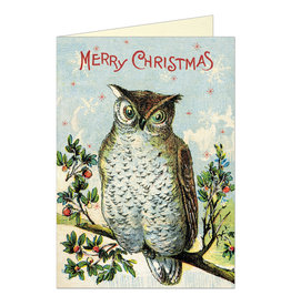 Cavallini Papers & Co. Merry Christmas Owl Brittany Notecard