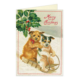 Cavallini Papers & Co. Merry Christmas Dogs Brittany Notecard