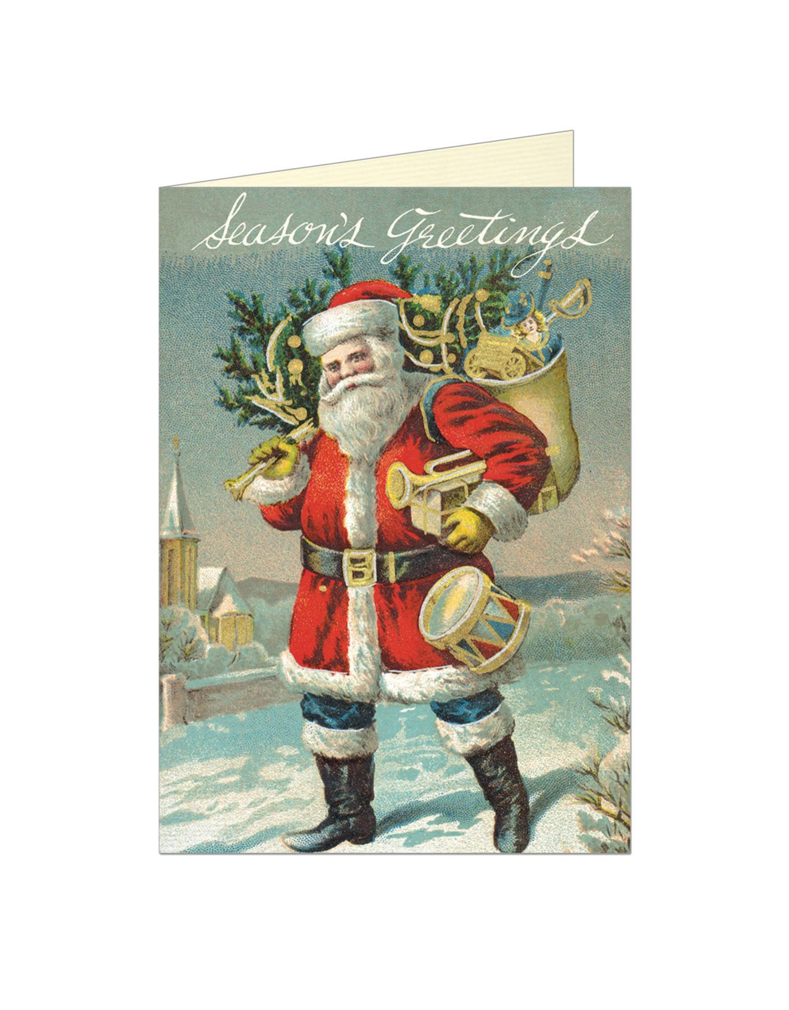 Cavallini Papers & Co. Seasons Greetings Santa Notecard