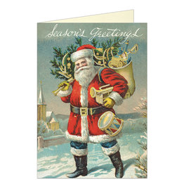 Cavallini Papers & Co. Seasons Greetings Santa Notecard