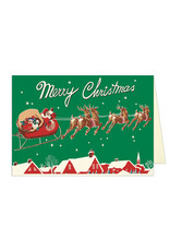 Cavallini Papers & Co. Santa & Sleigh Greeting Notecard