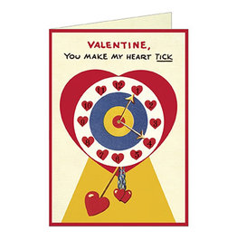 Cavallini Papers & Co. Valentines Clock Greeting Notecard