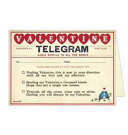 Cavallini Papers & Co. Valentine Telegram Notecard