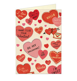 Cavallini Papers & Co. Valentine Hearts Brittany Notecard